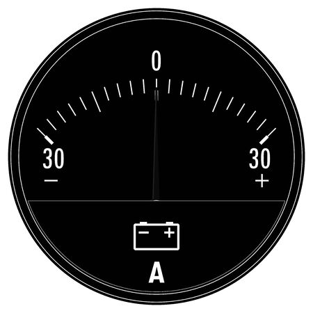 Ampermeter, Car Ammeter. Black drawing Foto de archivo - 131385496