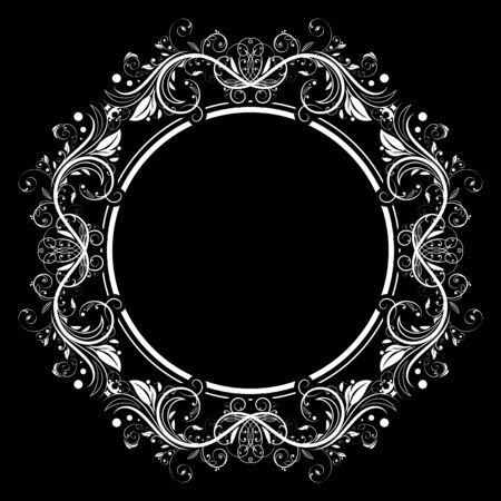 Floral filigree frame. Decorative round design element on black background