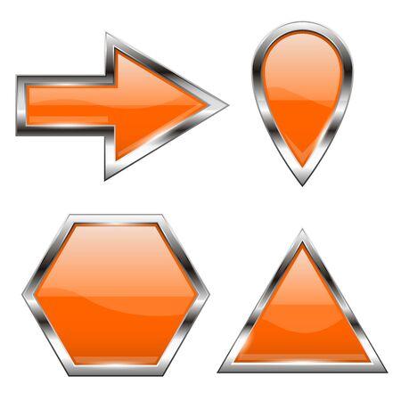 Orange shiny web icons with metal frame