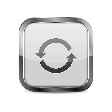 Web button Refresh. Square 3d icon with metal frame