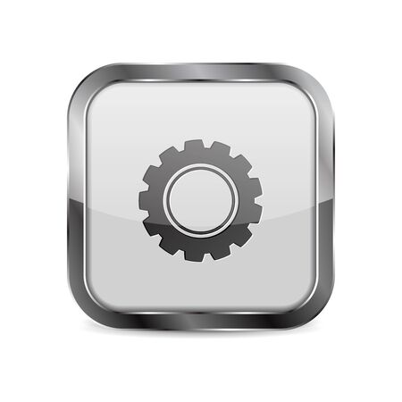 Web button Settings. Square 3d icon with metal frame