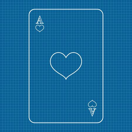 Playing card Ace of hearts on lined paper background Ilustração