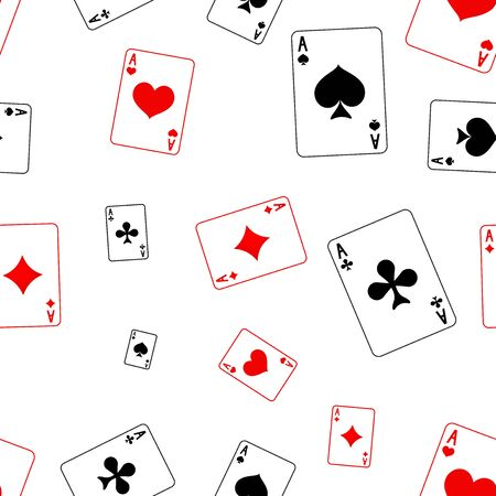 Playing cards seamless pattern. Red and black background  イラスト・ベクター素材