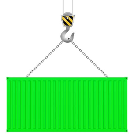 Green shipping freight container on a crane hook. Vector illustration isolated on white background