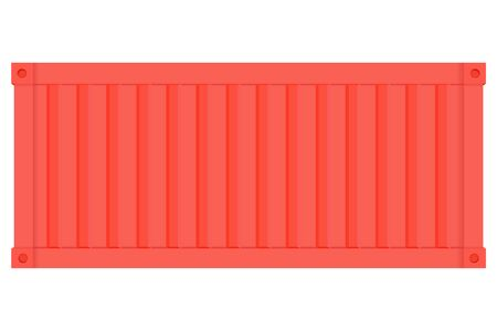 Shipping freight container. Red intermodal container. Side view. Vector illustration isolated on white background Stock Illustratie