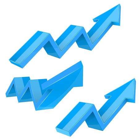Blue indication arrows. Up rising financial signs