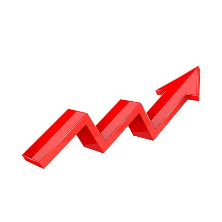 Financial trend. Up rising indication arrow. Red 3d sign. Vector illustration isolated on white background