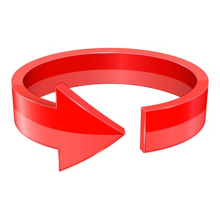 Red 3d arrow. Horizontal circle. Vector illustration isolated on white background