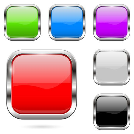 Colored buttons set. Shiny 3d glass square icons. Vector illustration isolated on white background