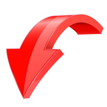 Down 3d arrow. Red sign with reflection. Vector illustration on white background