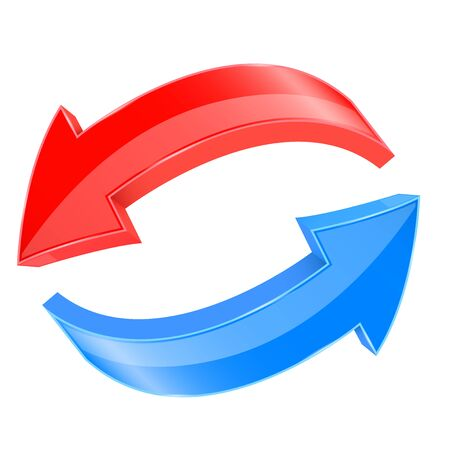 Red and blue 3d arrows. In circular motion. Vector illustration isolated on white background