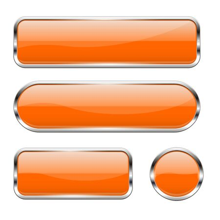 Orange glass buttons. Set of 3d shiny icons with chrome frame. Vector illustration isolated on white background