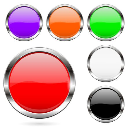 Colored buttons set. Shiny 3d glass round icons. Vector illustration isolated on white background Ilustração