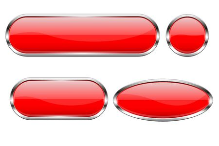 Red glass buttons. Set of 3d shiny icons with chrome frame. Vector illustration isolated on white background