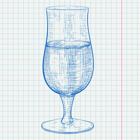 Beer glass. Hand drawn sketch on lined paper background. Vector illustration Stock Illustratie