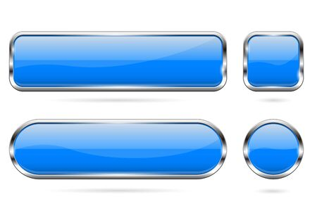 Blue glass buttons. Set of 3d shiny icons with chrome frame