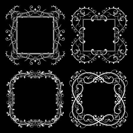 Floral frames set. Decorative square borders on black background. Vector illustration Ilustração