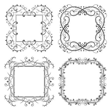 Floral filigree frames set. Decorative design elements