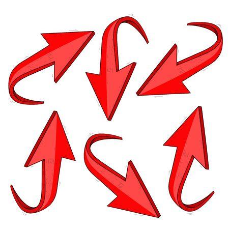Red arrows. Hand drawn sketch set. Vector illustration isolated on white background Ilustração