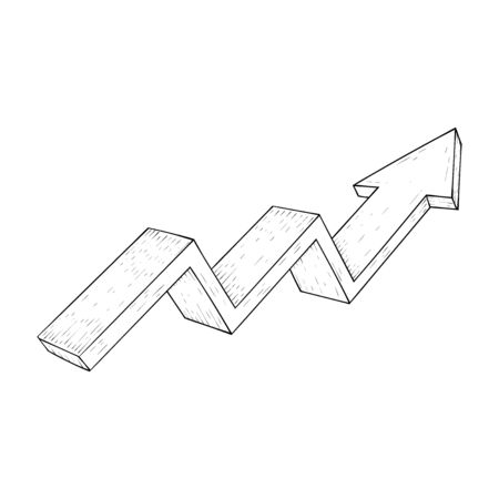 Financial trend. Up rising indication arrow. Outline hand drawn sketch Stok Fotoğraf - 133153688