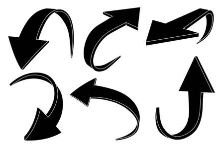 Down and up arrows set. Black silhouette icons Ilustração