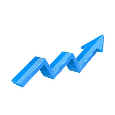 Financial trend. Up rising indication arrow. Blue 3d sign. Vector illustration isolated on white background