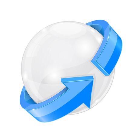 White sphere with blue arrow wrapped around. Vector 3d illustration isolated on white background Ilustração