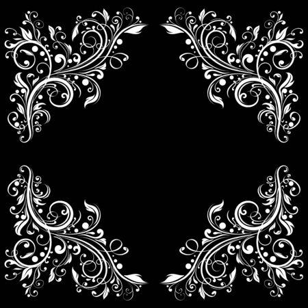 Floral filigree frame. Decorative design element on black background. Vector illustration