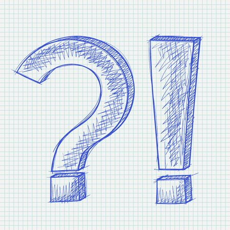 Question and Exlamation marks. Blue hand drawn sketch on lined paper background. Vector illustration