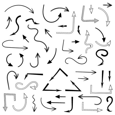 Black arrows. Hand drawn icons. Vector illustration isolated on white background