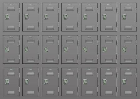 Metal lockers. Gym or school furniture. Vector 3d illustration Ilustração