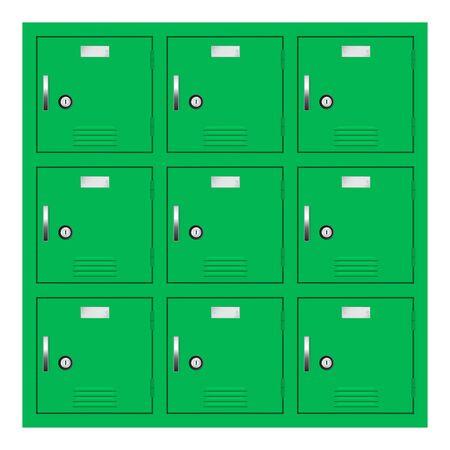 Green lockers. Gym or school furniture. Vector 3d illustration Ilustração