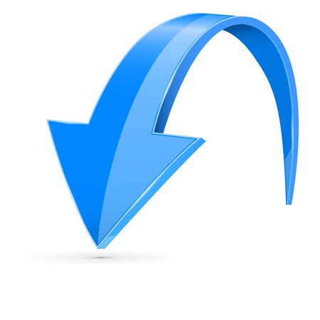 Down 3d arrow. Blue sign with reflection. Vector illustration on white background