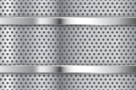 Metal background with perforation and chrome frame. Vector 3d illustration