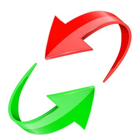 Red and green 3d arrows. In circular motion