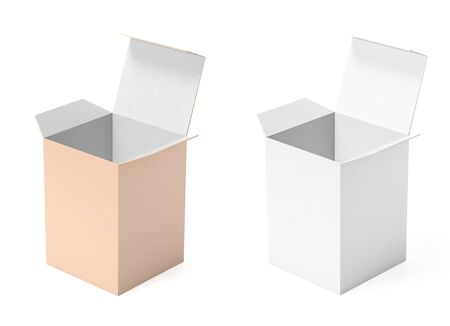 White and brown paper boxes. 3d rendering illustration isolated Stok Fotoğraf