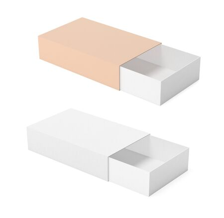 Slider paper carton set. Matchsticks boxes. White and brown. 3d rendering illustration isolated Banco de Imagens