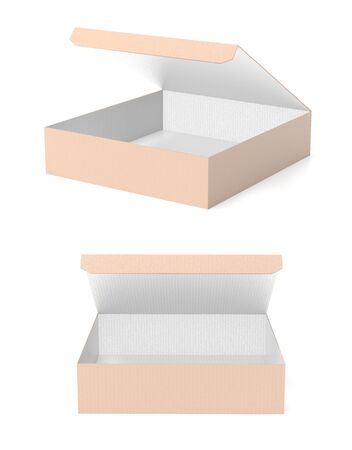 Flat brown paper boxes. Open cartons. 3d rendering illustration isolated Banco de Imagens