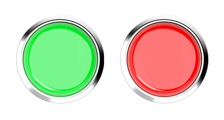 Green and red push buttons. Top view. 3d rendering illustration isolated