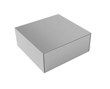 Gray closed box. 3d rendering illustration
