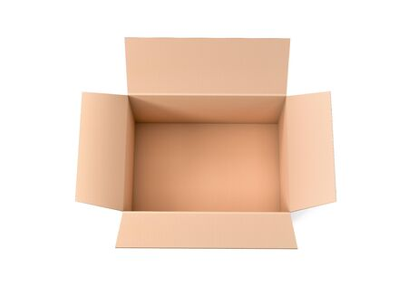 Open brown corrugated carton box. Big shipping packaging. Empty container. 3d rendering illustration isolated Banco de Imagens