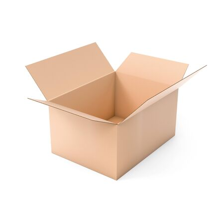 Open brown corrugated carton box. Big shipping packaging. 3d rendering illustration isolated Stok Fotoğraf - 133110312