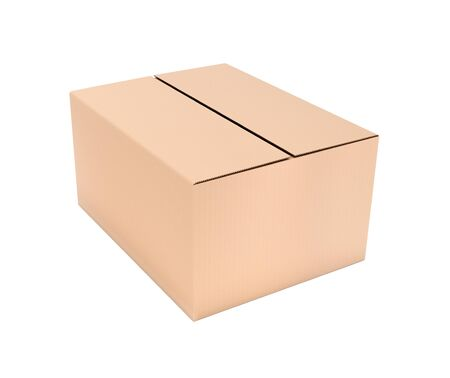 Closed brown corrugated carton box. Big shipping packaging. 3d rendering illustration isolated Stok Fotoğraf - 133107736