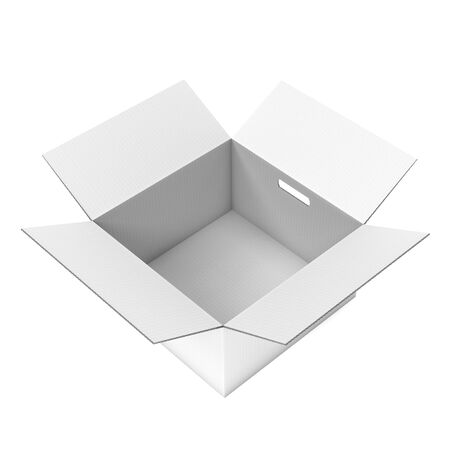 Open corrugated carton box with handle holes. White parcel. 3d rendering illustration isolated