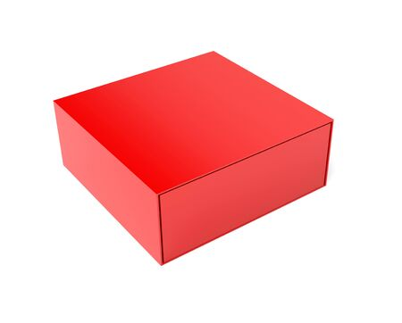 Red closed box. 3d rendering illustration Stok Fotoğraf - 133108000