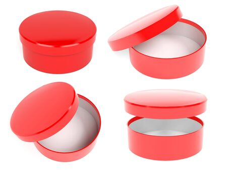 Round box. Open and closed red carton with lid. 3d rendering illustration