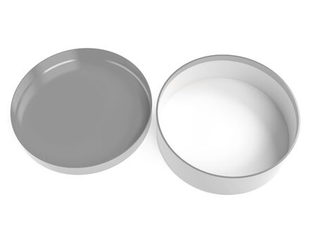 Round box. Open gray carton with lid. 3d rendering illustration isolated on white background