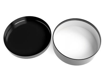 Round box. Open black carton with lid. 3d rendering illustration isolated on white background