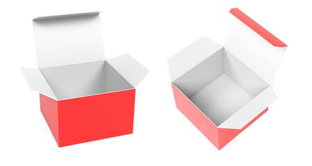 Red high box. Set of open cartons with white inside. 3d rendering illustration isolated on white background Stok Fotoğraf
