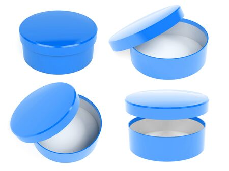Round box. Open and closed blue carton with lid. 3d rendering illustration